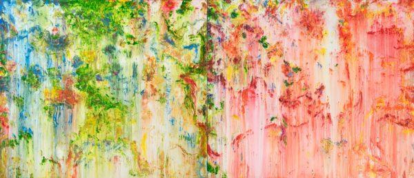 21-numeros 301 y 322-17. Acrilico s. tela. 120×280 cm